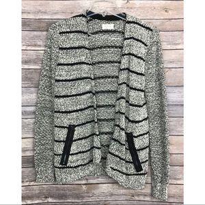 •LOFT Lou & Grey• Striped Waterfall Shaggy Sweater